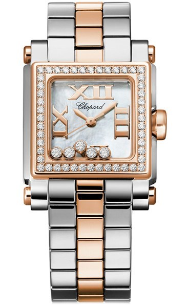 Happy Sport II Square Small (SS-RG-Diamonds / White MOP-Diamonds / Stainless Steel-RG Bracelet)