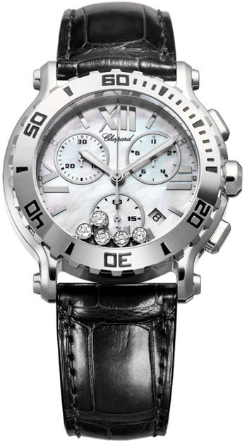 Happy Sport Chronograph (SS / White-Diamonds / Leather Strap)