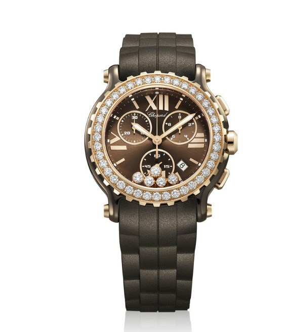 Happy Sport Chronograph (RG-Ceramic-Diamonds / Brown-Diamonds / Rubber Strap)