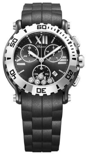 Happy Sport Chronograph (SS / Black-Diamonds / Rubber Strap)