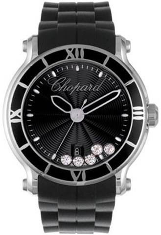 Happy Sport Round (SS / Black-Diamonds / Rubber Strap)