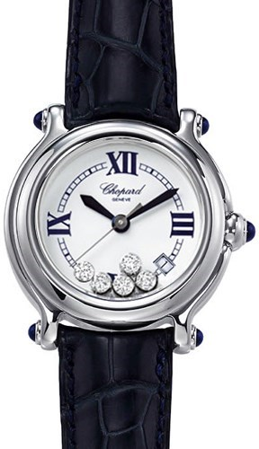 Happy Sport Classic Round (SS / MOP-Diamonds / Leather Strap)