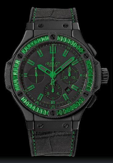 All Black Green Carat ( Ceramic-Tsavorite / Black / Alligator Gummy Rubber Strap)