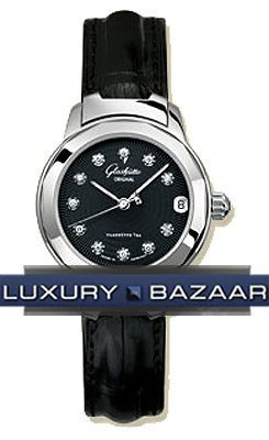 Lady Sport (Steel / Black-Diamonds / Leather)