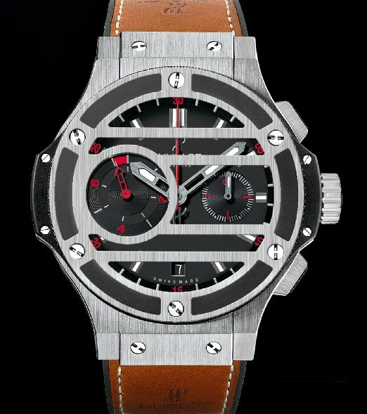 Big Bang Chukker Bang (Titanium-Ceramic / Mat Black / Rubber-Veal Leather Strap)