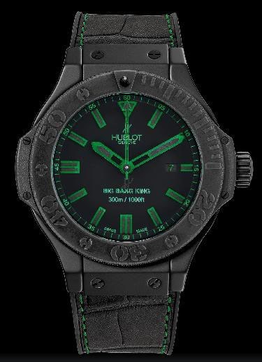 Big Bang King All Black Green (Ceramic / Black-Green / Alligator Gummy Rubber Strap)