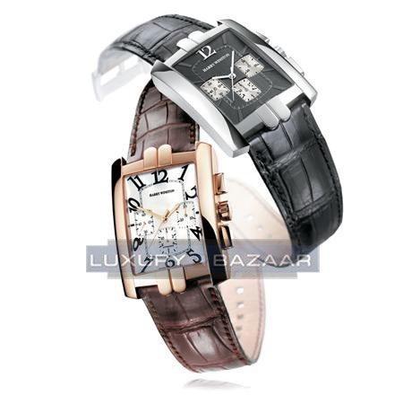 Harry Winston Avenue C Chromo ( WG / Black/ Leather )