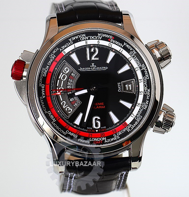 Master Compressor Extreme W-Alarm (Titanium-Steel / Black / Leather Strap)