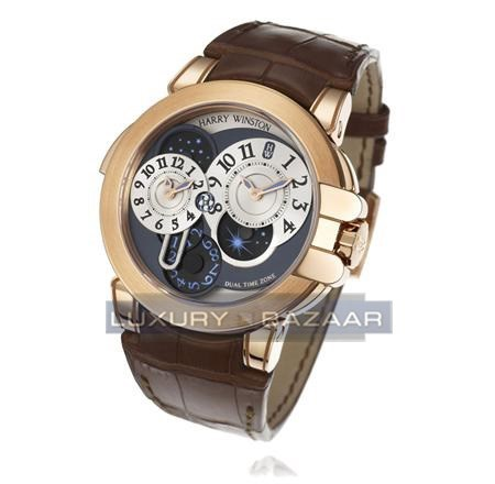 Harry Winston Ocean Dual Time (RG / Silver - Skeleton / Brown Croc Leather)