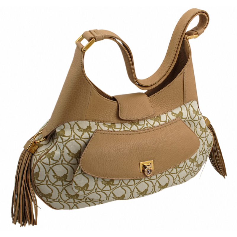 Mardrid Beige & Camel-Colored Calfskin Leather Bag 95000-0307