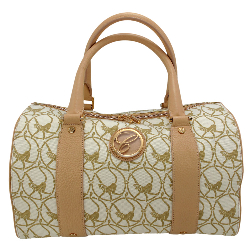 Milano Beige Cloth & Camel-Colored Leather Handbag 95000-0327
