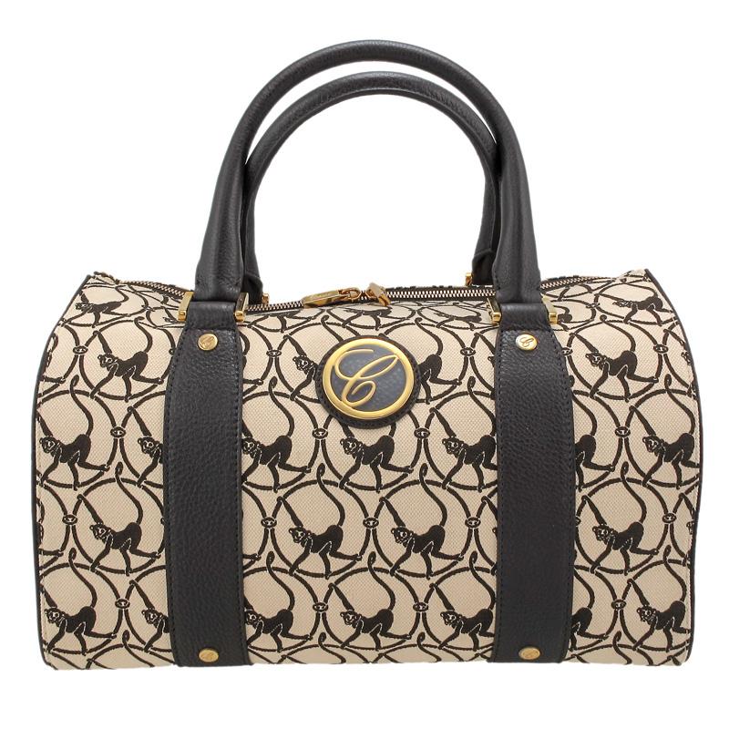Milano Beige Cloth & Brown Leather Handbag 95000-0328