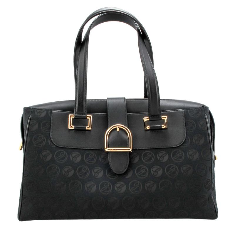 Medium Cloth & Black Grained Leather Handbag 95000-0411
