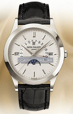 Perpetual Calendar Retrograde Date (Platinum / Silver / Leather Strap)