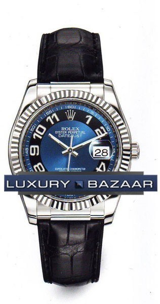 Datejust (WG-Fluted Bezel / Blue / Leather)