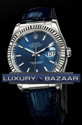 Datejust (WG-Fluted Bezel / Blue Index / Leather)