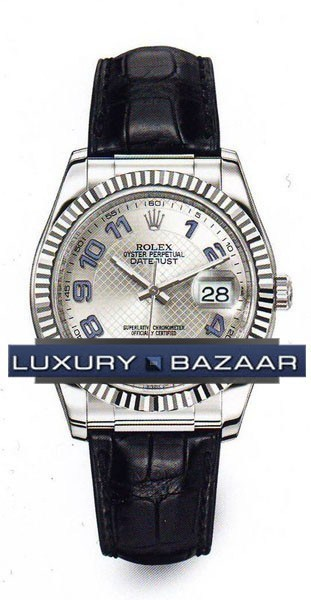 Datejust (WG-Fluted Bezel / Silver-Blue / Leather)
