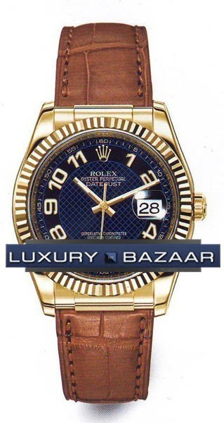Datejust (YG-Fluted Bezel / Blue / Leather)