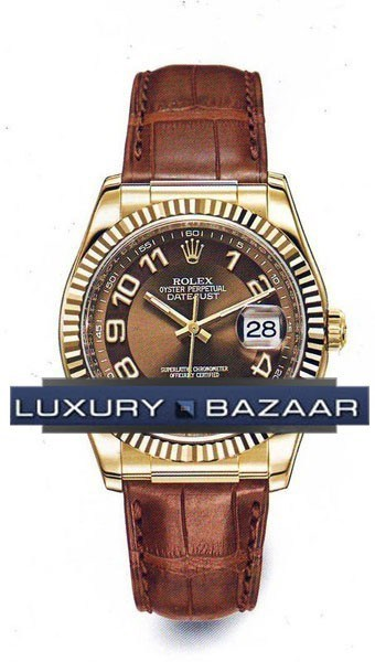 Datejust (YG-Fluted Bezel / Brown / Leather)