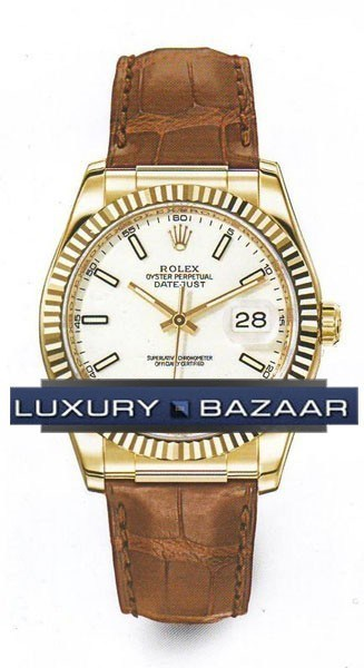 Datejust (YG-Fluted Bezel / White / Leather)
