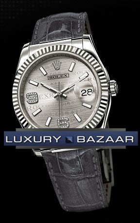 Datejust (WG-Fluted Bezel / Rhodium Waves-Diamonds / Leather)