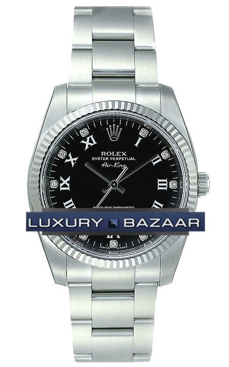 Air-King White Gold Fluted Bezel 34mm 114234 bkdro