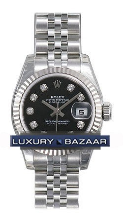 Datejust 179174 (Black Dial, Diamond Markers)