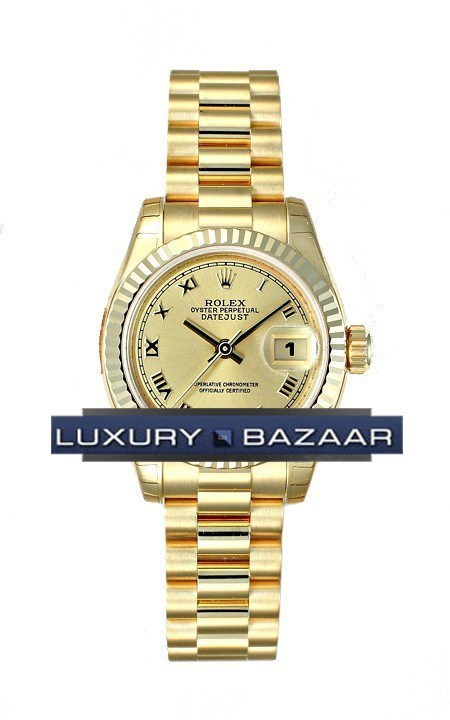 Datejust Lady Gold 26mm Fluted President 179178 chrp