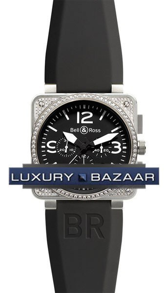 BR 01-94 Top Diamond Black Steel Chronograph