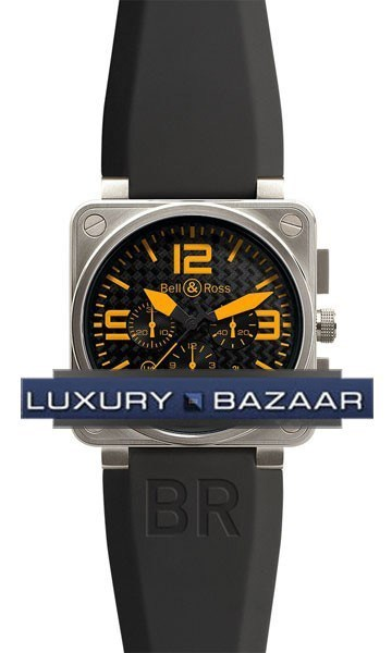 BR 01-94 Black Steel Orange Chronograph