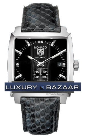Monaco Automatic (SS / Black-Diamonds / Leather)