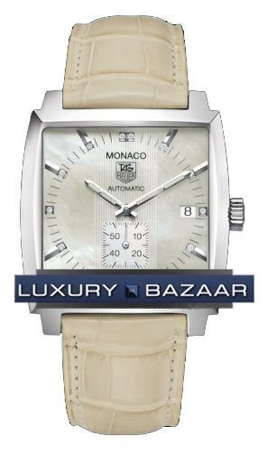 Monaco Automatic (SS / MOP-Diamonds / Leather)