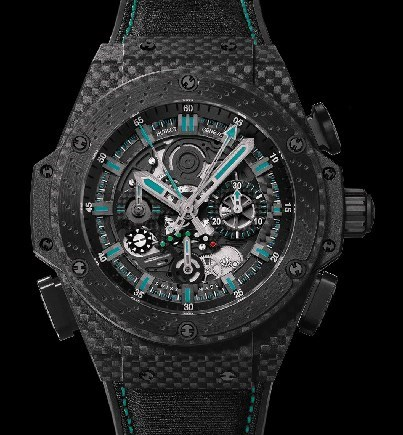 F1 King Power Abu Dhabi (Carbon Fiber-Ceramic / Black Skeleton / Rubber & Nomex Strap)