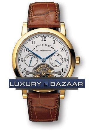 Lange Tourbillon Pour le Merite (18K YG / White /  Leather)
