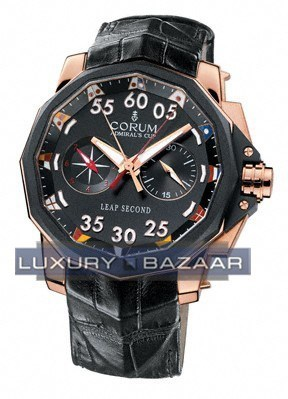 Corum Admiral's Cup Leap Second 48 (RG / Black/ Leather)