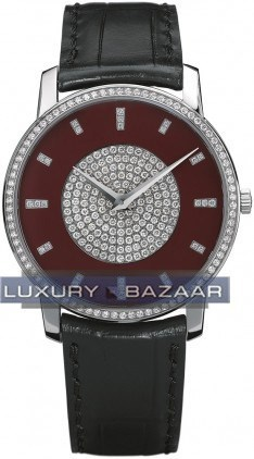 Patrimony traditionnelle (WG Diamond bezel-markers/Red/ Leather Strap)