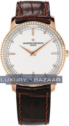 Patrimony traditionnelle (RG- Diamond bezel-markers/Silver /Leather Strap)