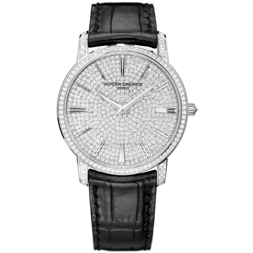 Patrimony traditionnelle (WG-Full Pave/Leathes Strap)