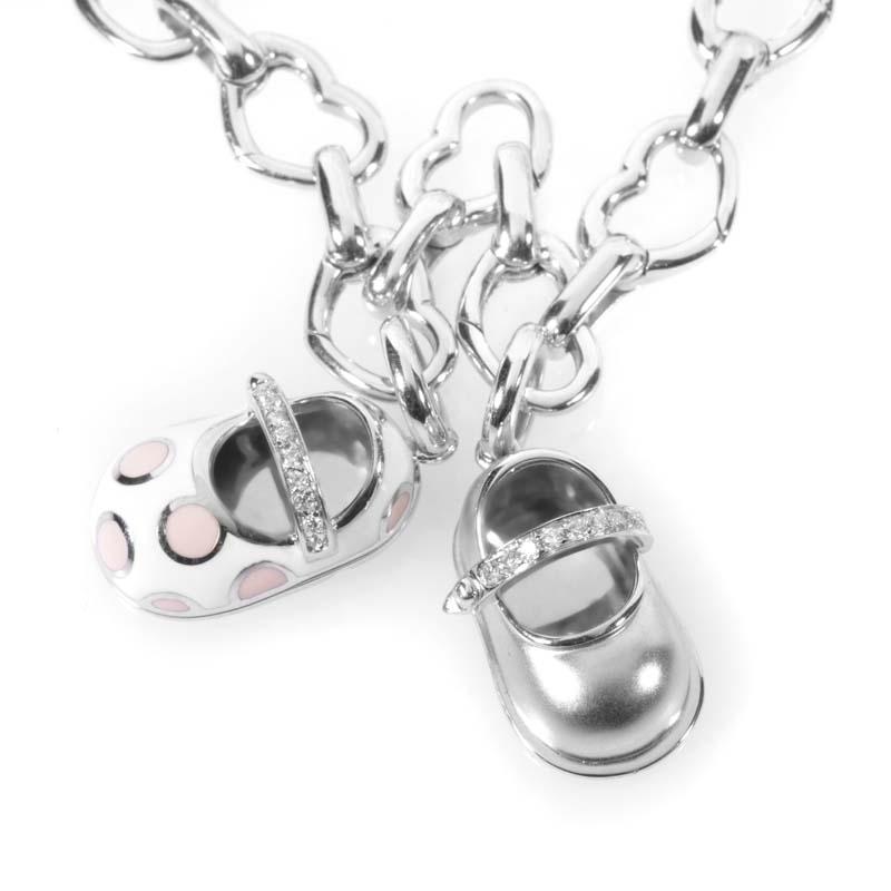 Aaron Basha 18K White Gold & Diamond Baby Shoe Charm