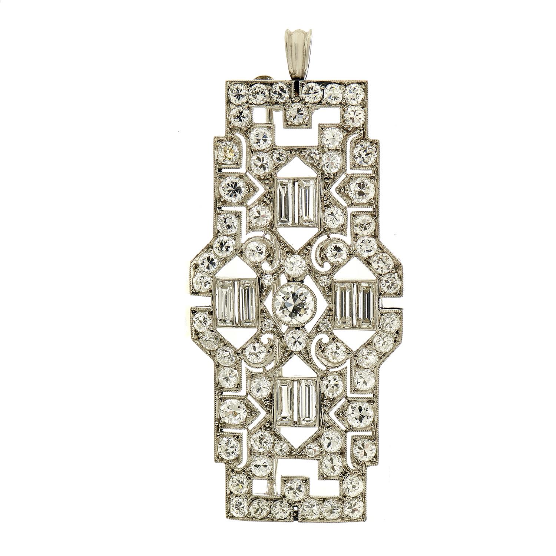 Women's Platinum Full Diamond Pave Pendant/Brooch