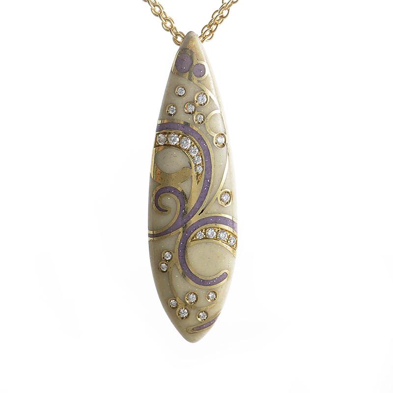 18K Yellow Gold Ivory Enamel & Diamond Pendant Necklace