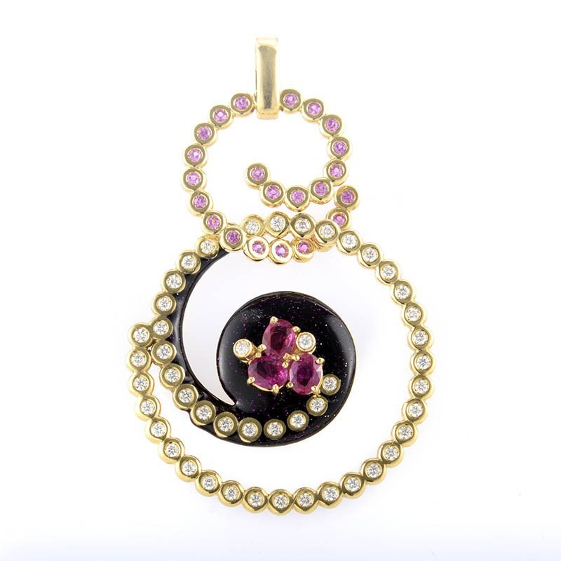 18K Yellow Gold Pink Sapphire & Diamond Swirl Chainless Pendant