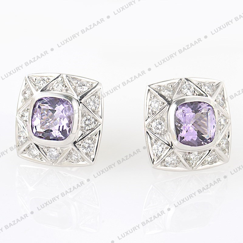 18K White Gold Diamond & Amethyst A-Cut Earrings  1024977