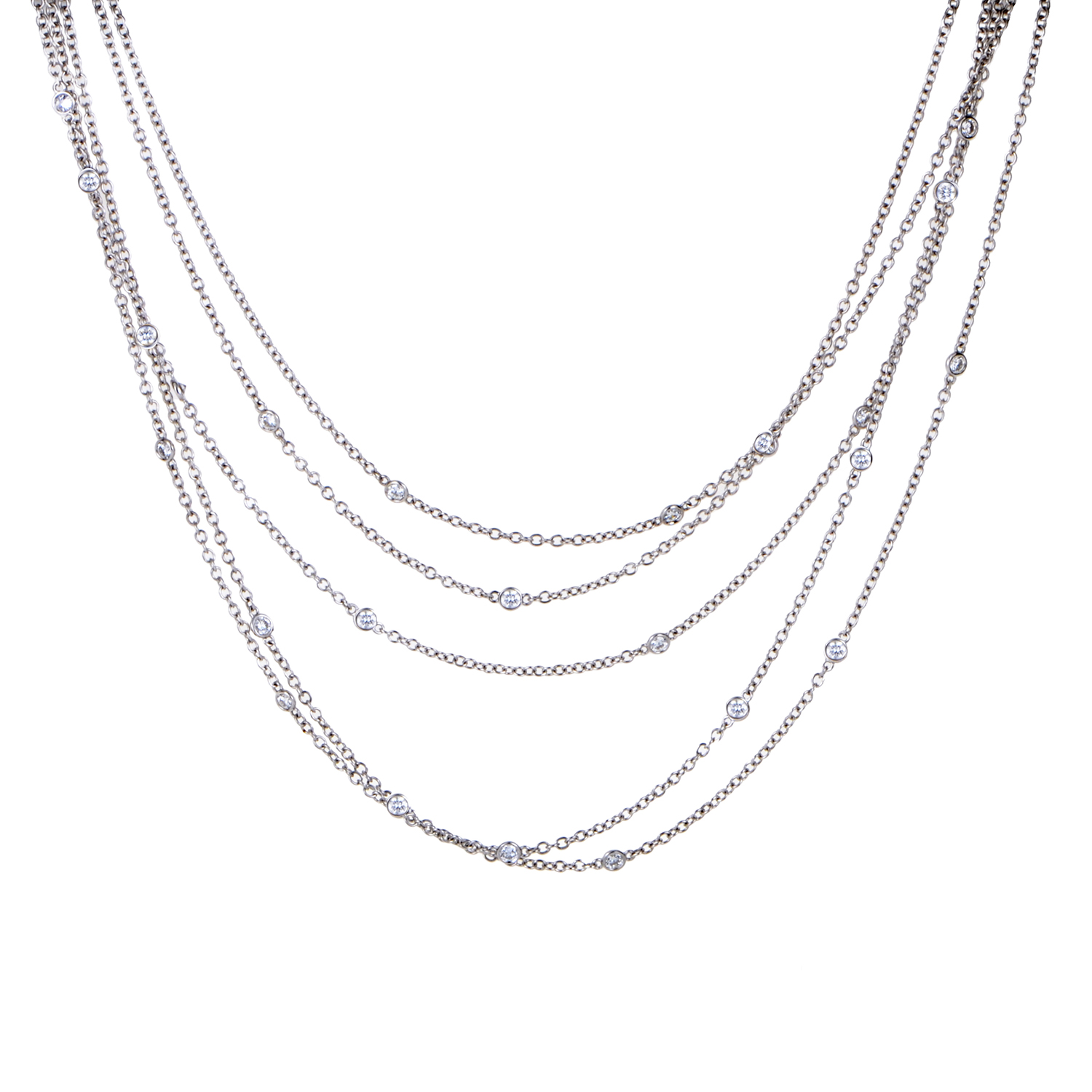 Women's 18K White Gold & Diamond Multi-Strand Necklace