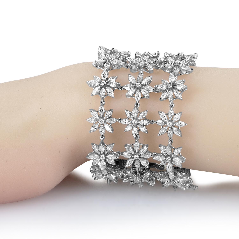 Asprey Women's 18K White Gold Floral Diamond Bracelet ASP01-072716