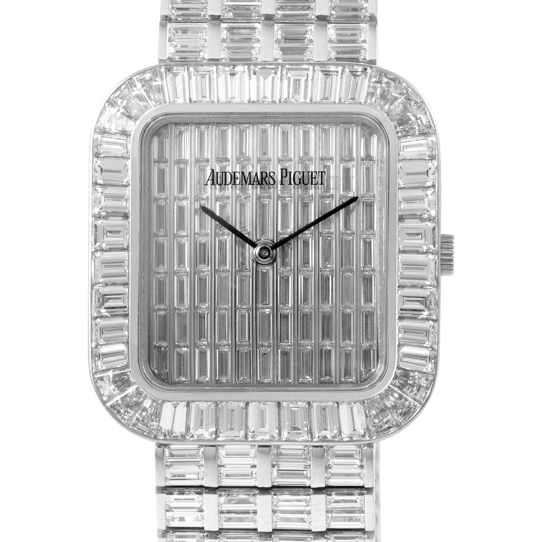 Men's White Gold Baguette Pave Watch 14766BC.ZZ.8014BC.01