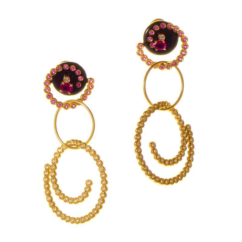 18K Yellow Gold Pink Sapphire & Diamond Swirl Drop Earrings