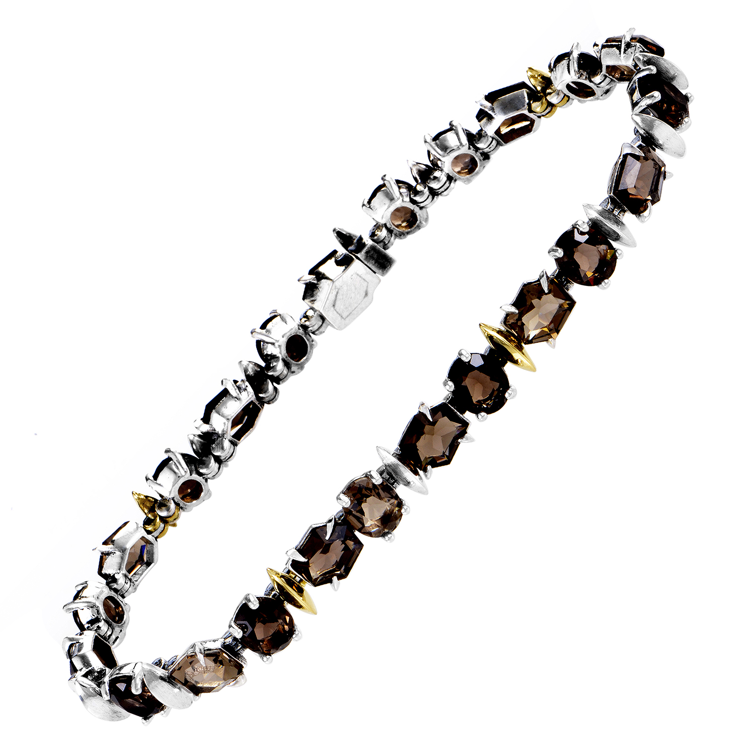 Women's Sterling Silver & 18K Yellow Gold Smoky Quartz Bracelet