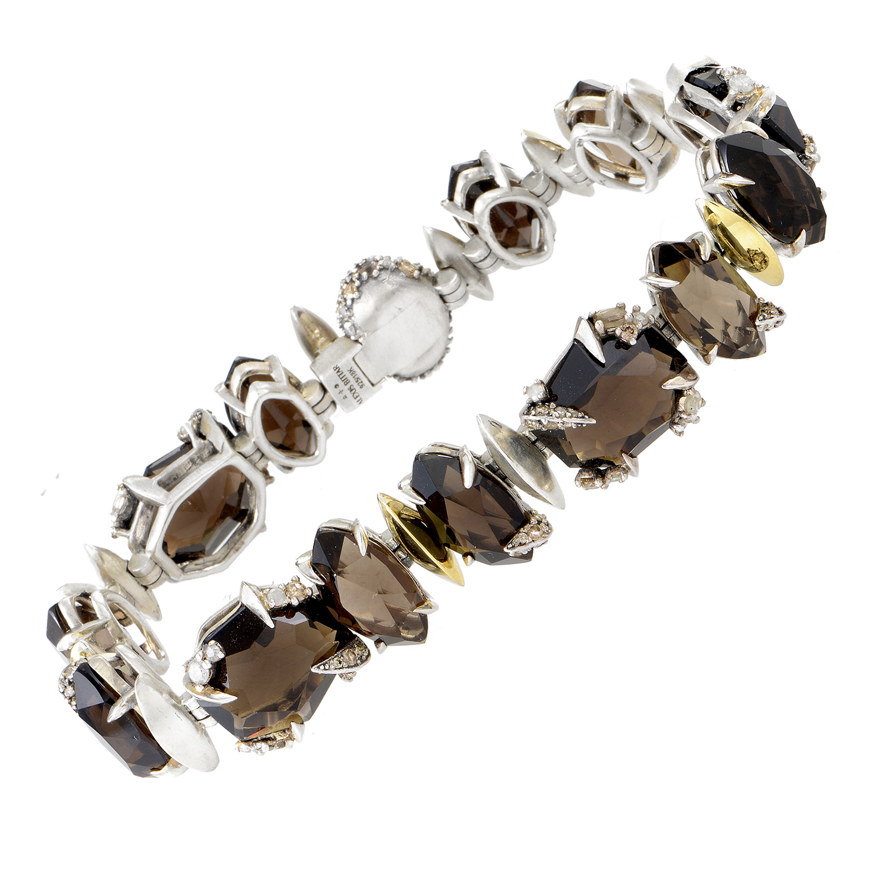 Women's Sterling Silver & Yellow Gold Diamond and Smoky Quartz Bracelet
