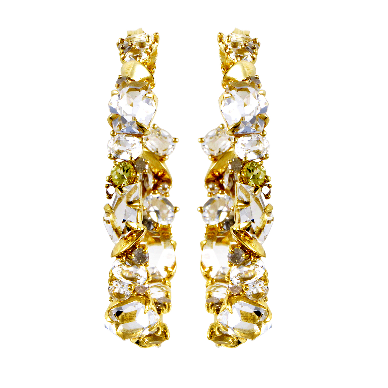 18K Yellow Gold Diamond & Gemstone Hoop Earrings FN33E056